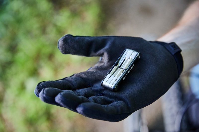 long fingered mtb gloves with a multi-tool